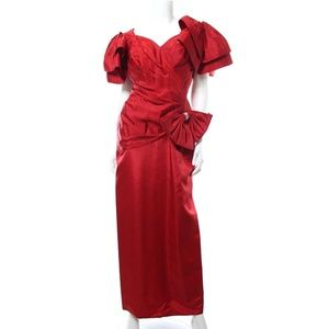 Tadashi Vtg 80s Red Puff Sleeve Dress Gown w/ Bow